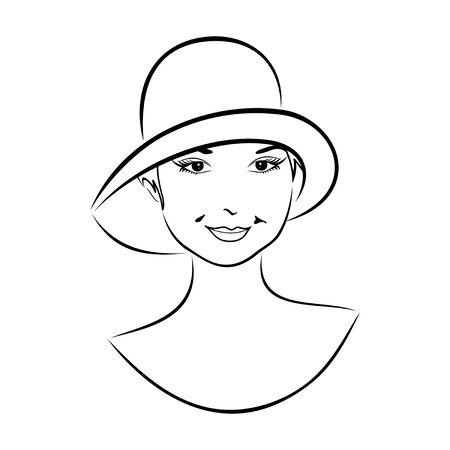 Illustration vintage girl face in hat - vector