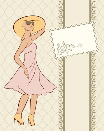 Illustration vintage girl with card, sketch style - vector illustration