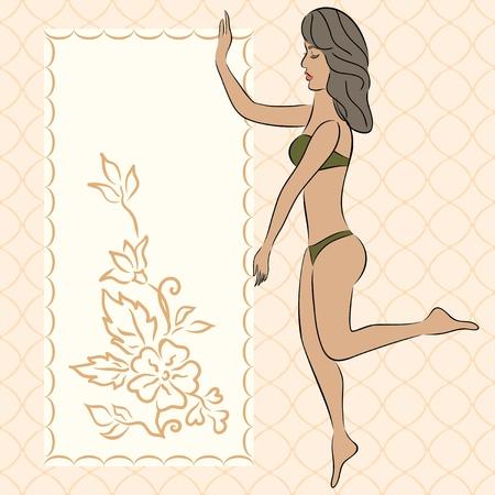 sportswoman: Illustration fitness flyer with sportswoman - vector