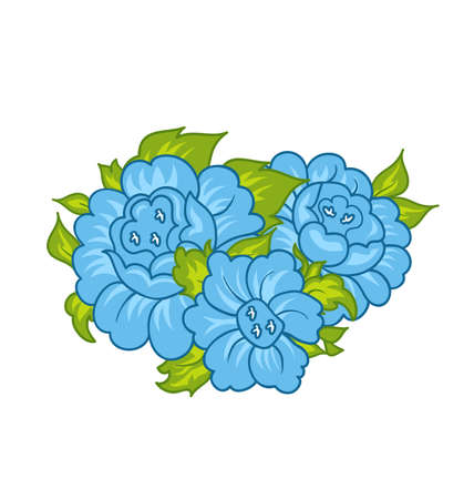Illustration blue flowers isolated on white background - vector illustration