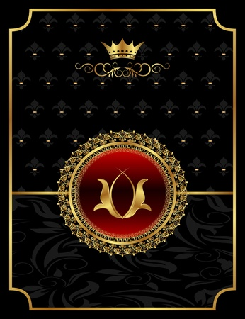 Illustration vintage background with heraldic crown - vector Stock Photo