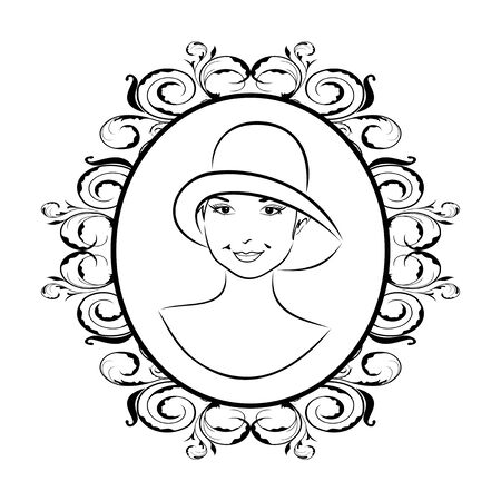 Illustration vintage girl face in hat - vector illustration