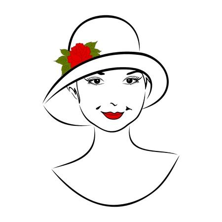 Illustration vintage girl face in hat with rose- vector illustration