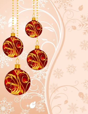 Illustration Christmas floral background with set balls - vector illustration