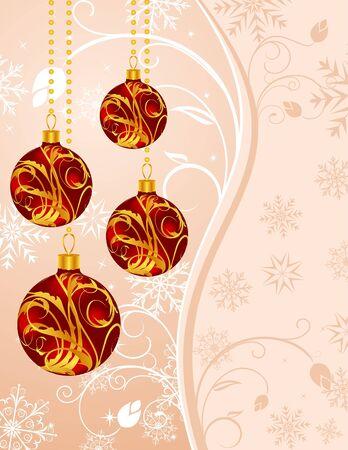 Illustration Christmas floral background with set balls - vector illustration