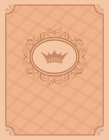 Illustration vintage background with floral frame and crown - vector illustration