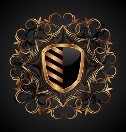Illustratie sierlijke heraldische schild - vector Stockfoto