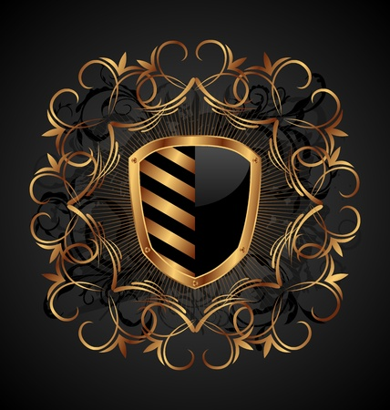 Illustration ornate heraldic shield - vector