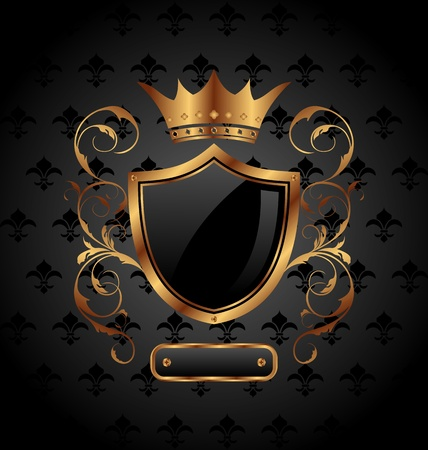coat of arms  shield: Illustration ornate heraldic shield with crown - vector