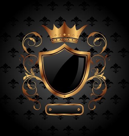 Ilustracja ozdobny heraldyczny tarczy z koronÄ… - wektor