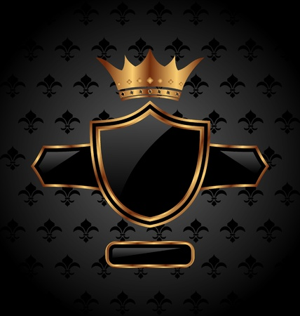 richly: Illustration ornate heraldic shield with crown - vector