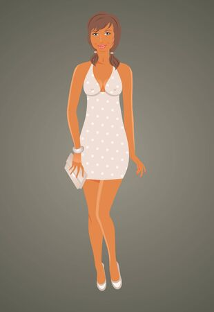 busty: Illustration fashion glamor girl in dress - vector Stock Photo