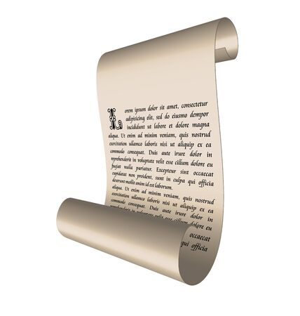 Illustration of an ancient scroll with text isolated on white background - vector illustration