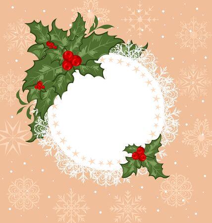 Illustration Christmas celebration card with branch - vector illustration