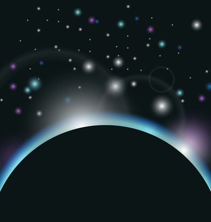 orion: Illustration space background with earth and sunrise - vector
