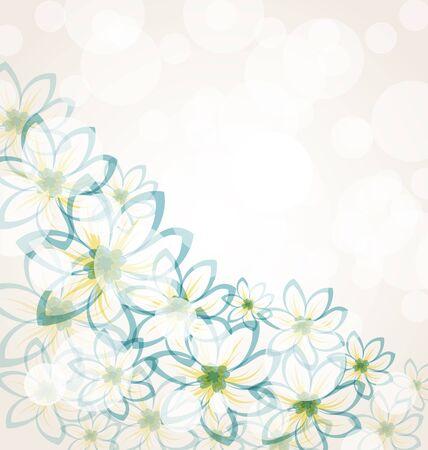 Illustration spring flower background with transparency elements for design card. Vintage style - vector Vector