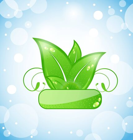 Illustration green nature leaves on blue background - vector Stock Vector - 13255602