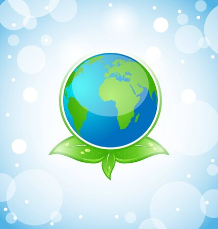 Illustration of green earth with leaves - vector Vector