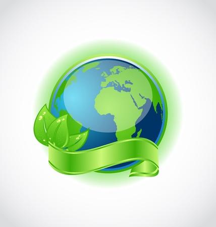 wereldbol groen: Illustratie van de groene aarde met bladeren gewikkeld lint geà ¯ soleerd - vector