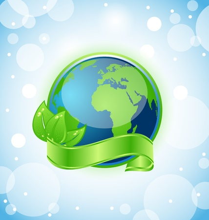 go green icons: Illustration of green earth with leaves wrapped ribbon - vector