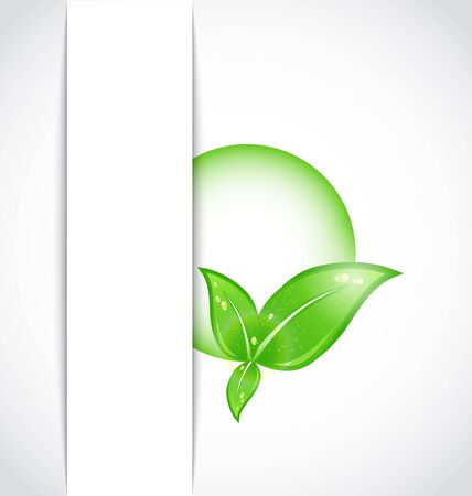 biologic: Illustration green leaves with bubble sticking out of the cut paper - vector Illustration