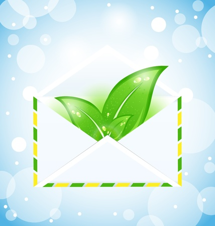 Illustration summer letter with green leaves - vector Vector