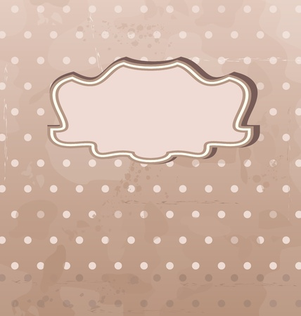 grungy dots: Illustration grunge background with vintage label - vector