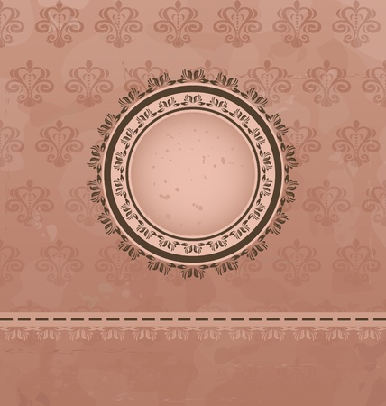 Illustration vintage background with floral medallion - vector Vector