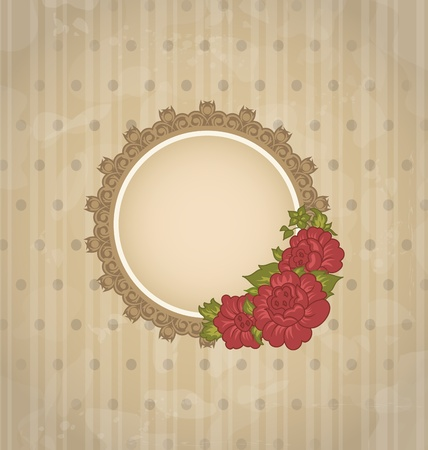 Illustration vintage background with floral medallion and flowers  - vector Vector