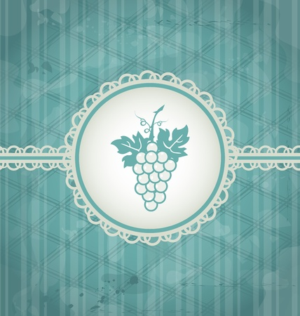 Illustration vintage background with grapevine label, grunge texture - vector Vector