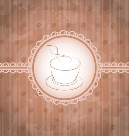 Illustration vintage background with coffee label, coffee beans texture - vector