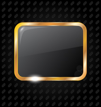 Illustration golden rectangle frame isolated on aluminum background - vector Stock Vector - 13865007