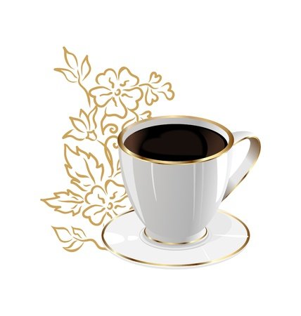 Illustration cup of coffee isolated with floral design elements - vector Vector