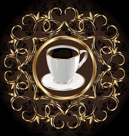 encasement: Illustration ornate label for package coffee, floral texture - vector Illustration