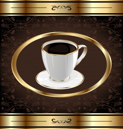encasement: Illustration vintage label for wrapping coffee, coffe cup Illustration