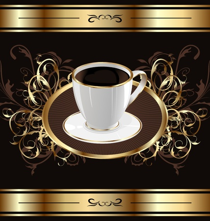 Illustration vintage background for packing coffee, coffee cup - vector Vector