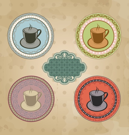 Illustration set of vintage retro coffee labels with ornament elements Vector