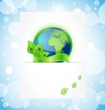 Illustration of green earth with leaves wrapped ribbon Vector