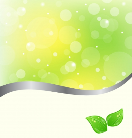 Illustration ecology card with green leaves Stock Vector - 13865116