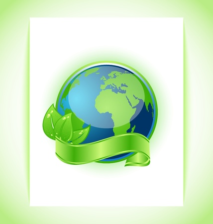environment geography: Illustration of green earth with leaves wrapped ribbon isolated Illustration