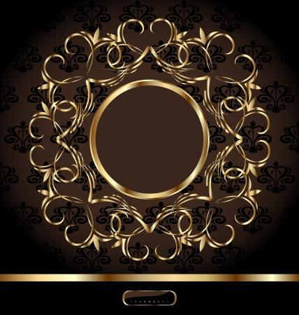 encasement: Illustration royal background with golden ornate frame - vector