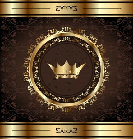 Illustration royal background with golden ornate frame and heraldic crown Vectores