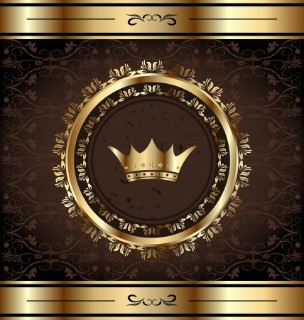 Ilustracja królewski tło ze złotymi ozdobną ramę i korona heraldyczna Ilustracja