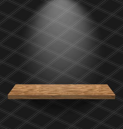 �tag�re bois: Illustration chambre mill�sime papier peint avec la lumi�re �tag�re en bois Illustration