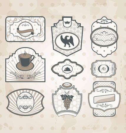 Illustration set of vintage ornate labels, decor design elements Vector