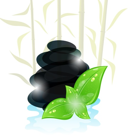 Illustration meditative oriental background with cairn stones and eco green leaves Stock Vector - 13865183