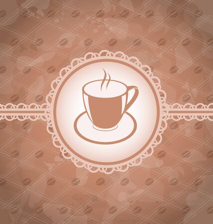 Illustration old grunge background with coffee label - cup, coffee bean Vector