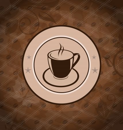Illustration retro background with coffee mug, coffee bean texture Vector
