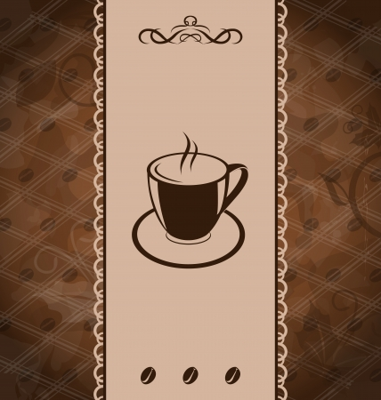 Illustration vintage background for coffee menu, coffee bean texture Vector