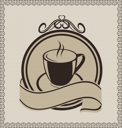 Illustration vintage label with coffee mug for packing Stock Vector - 13865111